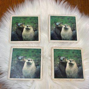 Sea Otter Coasters (4) Cork Backing Stone Coasters